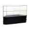 Knocked Down Half Vision Frameless Corner Showcase - Black