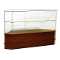 Knocked Down Half Vision Frameless Corner Showcase - Walnut