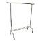 Single Bar Rolling Clothing Rack - Chrome