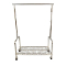 Single Bar Rolling Clothing Rack With Shelf - Chrome