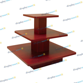 3 Tier Square Display Table - Walnut