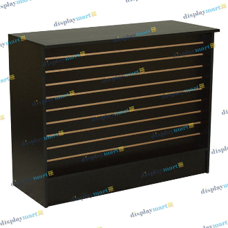 "70"" Assembled Slatwall Front Wrap Counter - Black"
