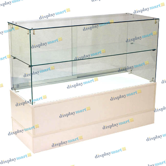 "48"" Knocked Down Half View Frameless Showcase - White"