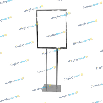 "22""W X 28""H Flat Base Bulletin Sign Holder - Chrome"