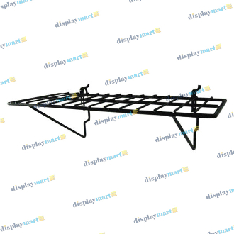 "6""D X 14""L Grid & Slat Wire Shelf - Black"