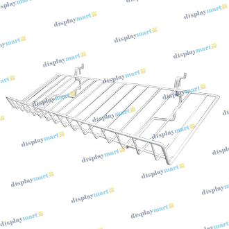"10""D X 23""L Grid & Slat Slanted Wire Shelf - White"