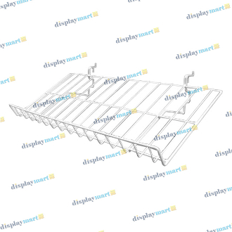 "12""D X 23""L Grid & Slat Slanted Wire Shelf - White"