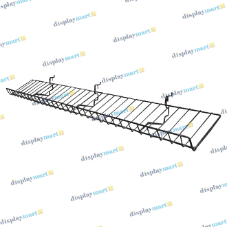 "8""D X 46""L Grid & Slat Slanted Wire Shelf - Black"
