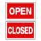 """OPEN"" & ""CLOSED"" 2 Sided Plastic Sign Card"