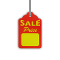 """SALE PRICE"" Scallop Price Tags With Strings - Red"