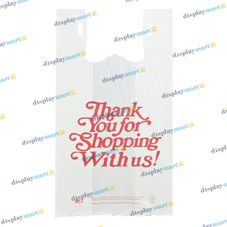 Roll Of Oversize Plastic Thank You Bags - White