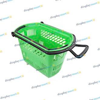 Plastic Shopping Basket With Wheels - Green